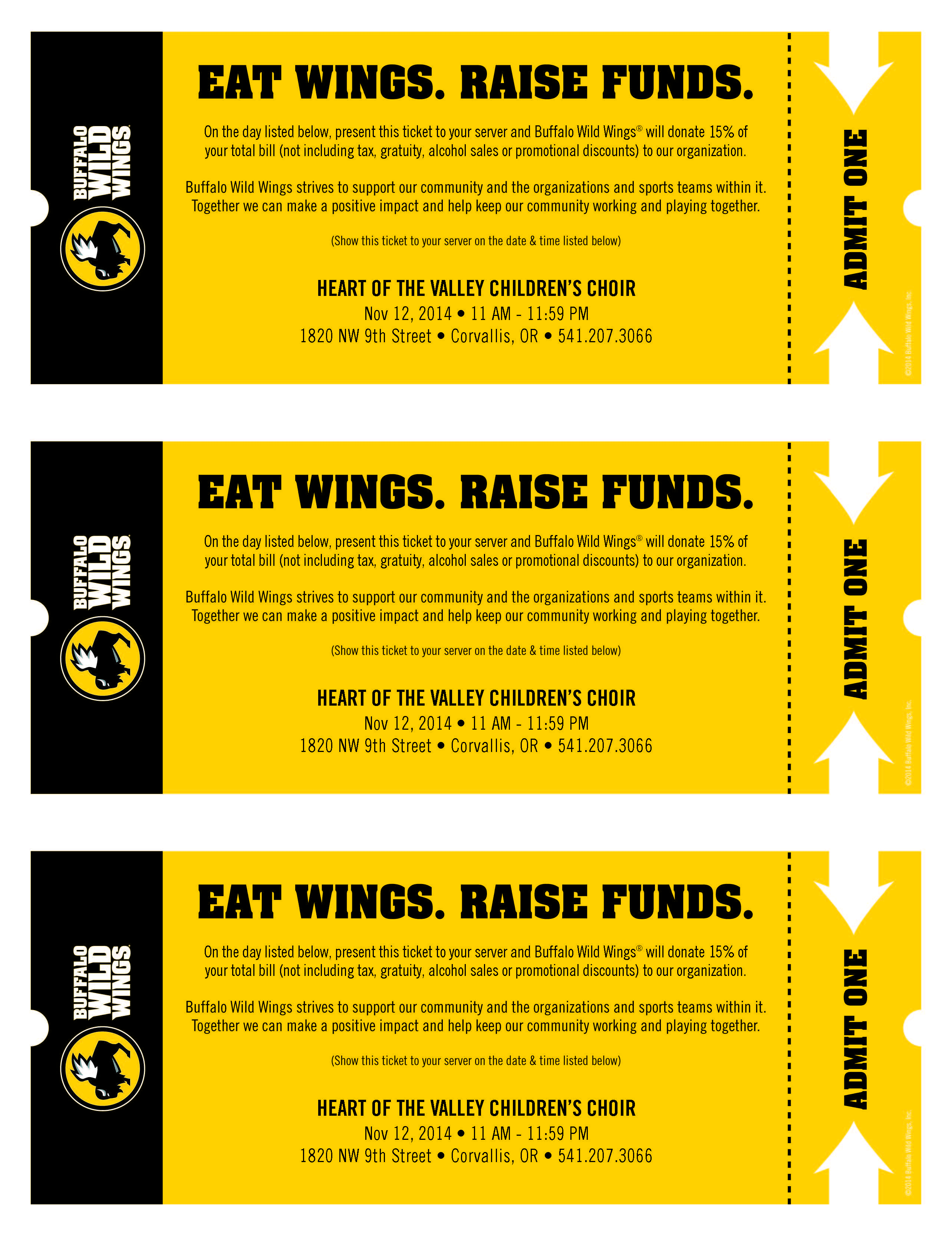 ... Event at Buffalo Wild Wings! | Heart of the Valley Children's Choir