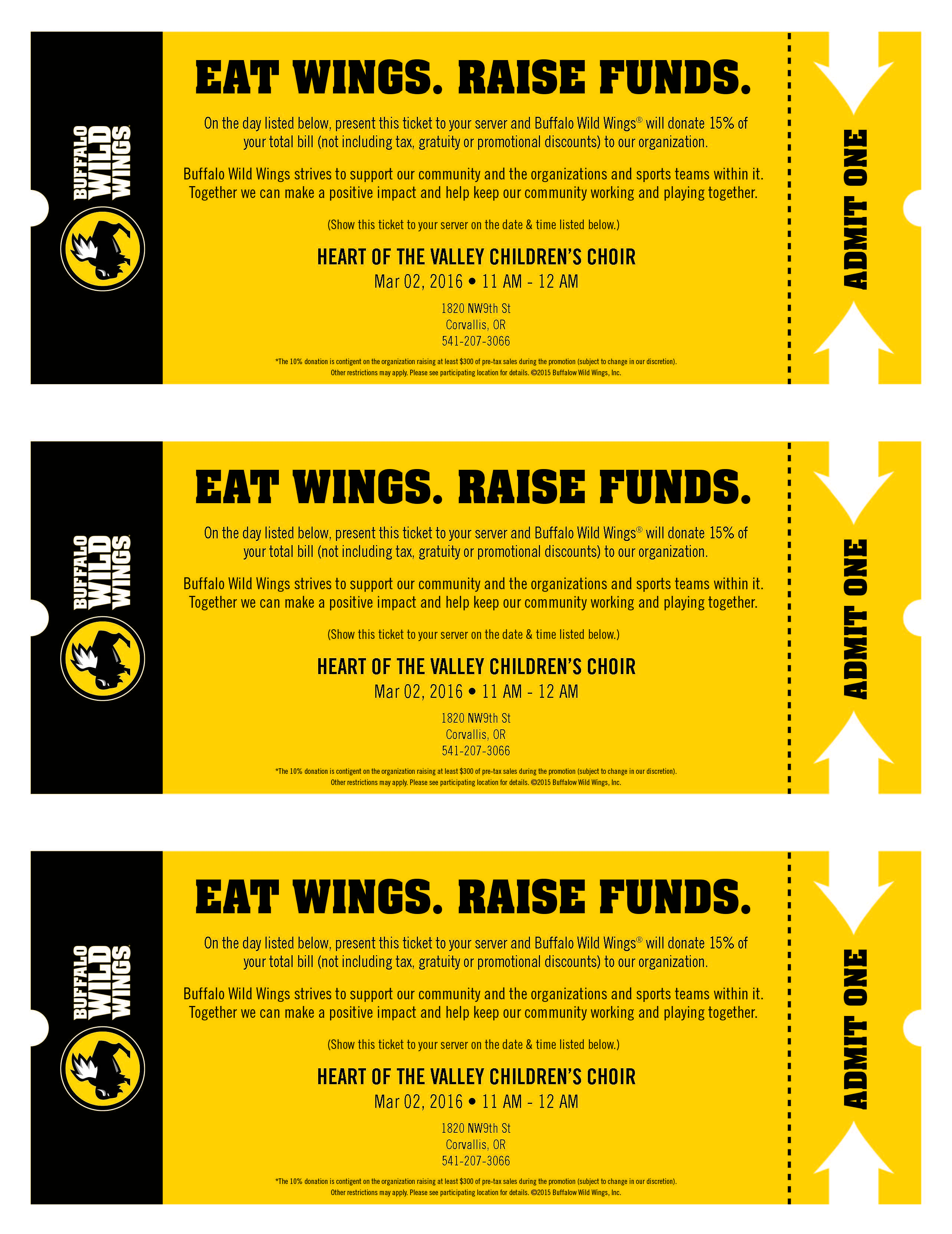 dine out event heart of the valley children s choir stop by buffalo wild wings any time today